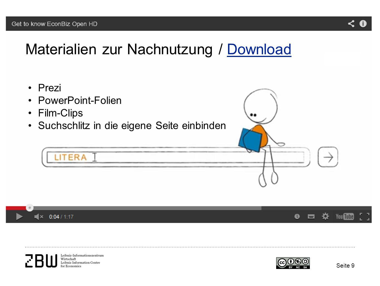 Seite 9 Materialien zur Nachnutzung / DownloadDownload Prezi PowerPoint-Folien Film-Clips Suchschlitz in die eigene Seite einbinden