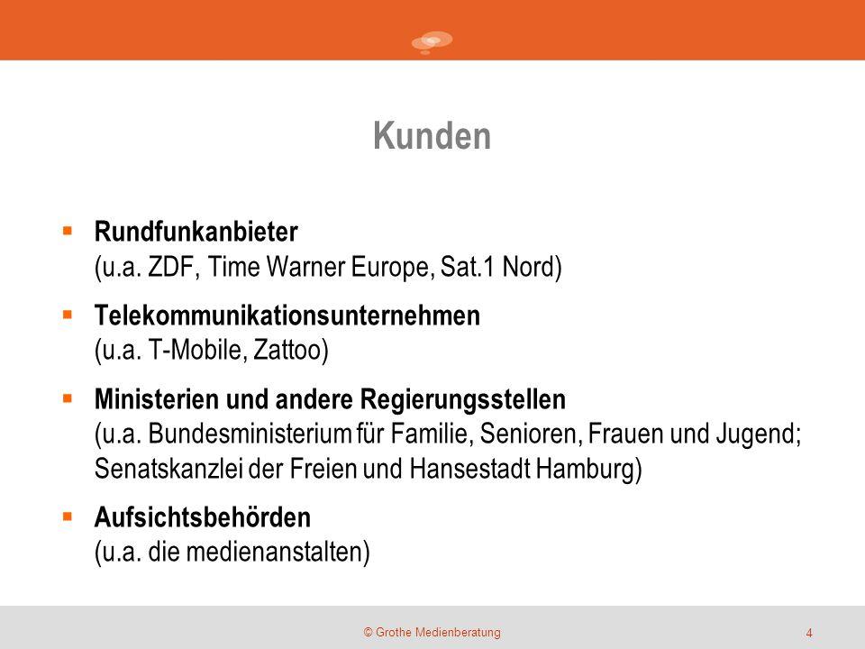 Kunden © Grothe Medienberatung  Rundfunkanbieter (u.a. ZDF, Time Warner Europe, Sat.1 Nord)  Telekommunikationsunternehmen (u.a. T-Mobile, Zattoo) 