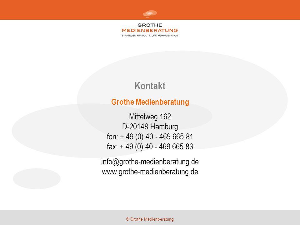 © Grothe Medienberatung Kontakt Grothe Medienberatung Mittelweg 162 D-20148 Hamburg fon: + 49 (0) 40 - 469 665 81 fax: + 49 (0) 40 - 469 665 83 info@g