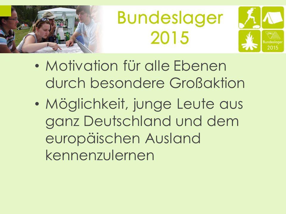 Motivation für alle Ebenen durch besondere Großaktion Möglichkeit, junge Leute aus ganz Deutschland und dem europäischen Ausland kennenzulernen