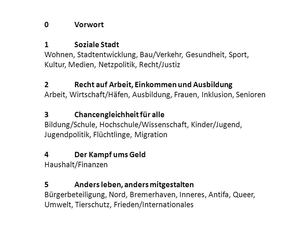 0Vorwort 1Soziale Stadt Wohnen, Stadtentwicklung, Bau/Verkehr, Gesundheit, Sport, Kultur, Medien, Netzpolitik, Recht/Justiz 2Recht auf Arbeit, Einkomm