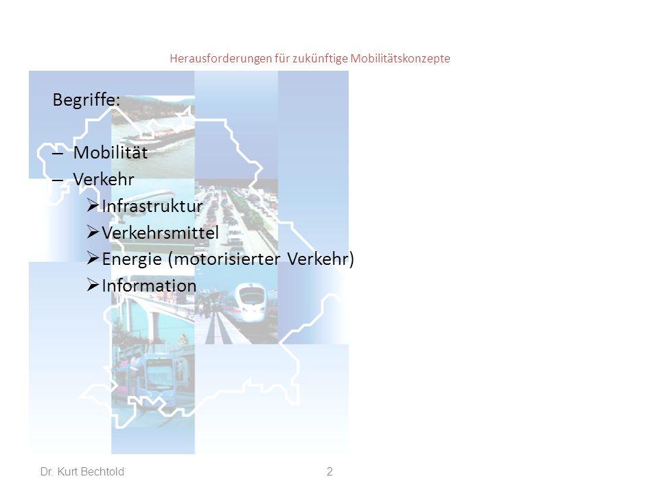 Herausforderungen für zukünftige Mobilitätskonzepte Verkehrsinfrastruktur: – Fußweg – Radweg – Straßennetz – Schienennetz, Bahnhöfe, Terminals – Flüsse, Kanäle, Seeweg, Häfen – Flughäfen – Vernetzung der Schnittstellen 3Dr.