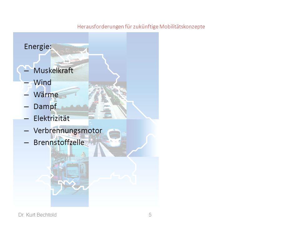 Herausforderungen für zukünftige Mobilitätskonzepte Energie: – Muskelkraft – Wind – Wärme – Dampf – Elektrizität – Verbrennungsmotor – Brennstoffzelle