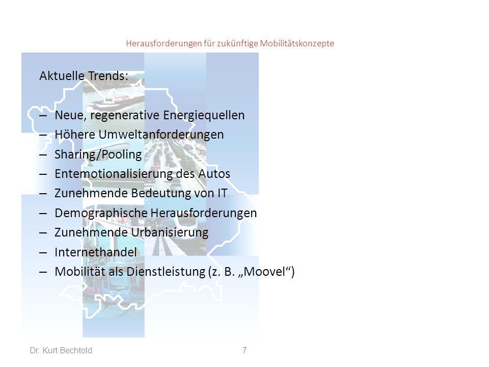 Herausforderungen für zukünftige Mobilitätskonzepte Aktuelle Trends: – Neue, regenerative Energiequellen – Höhere Umweltanforderungen – Sharing/Poolin