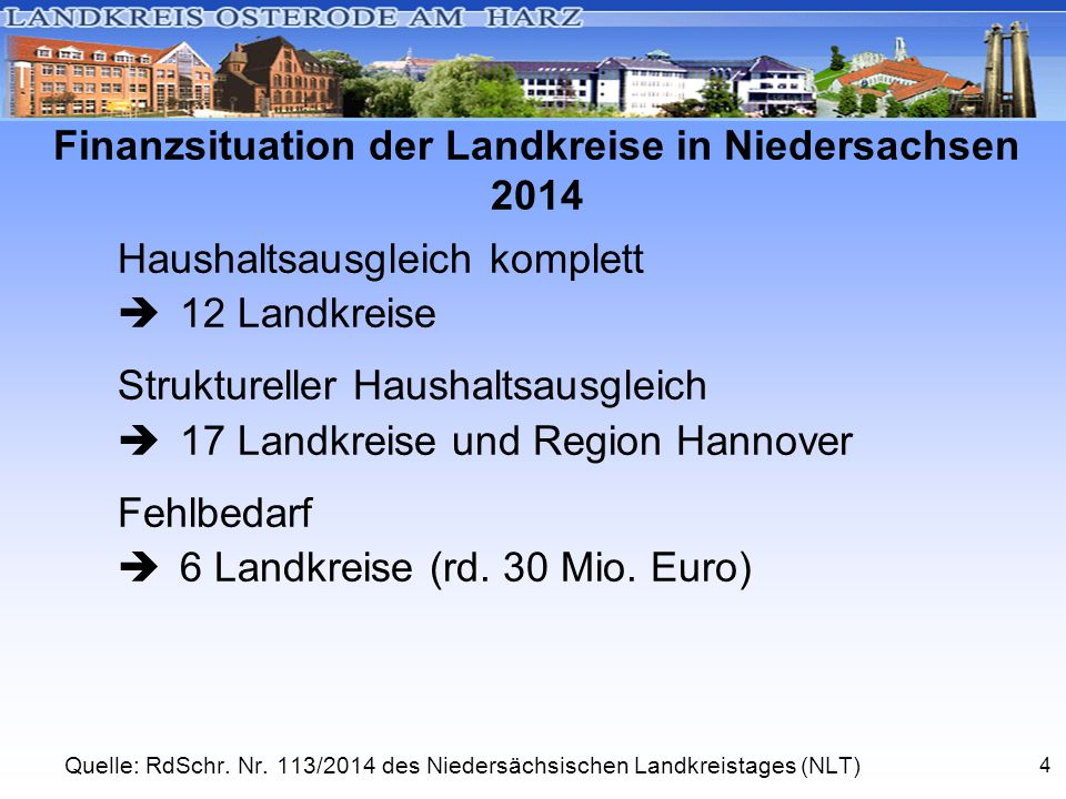 4 Finanzsituation der Landkreise in Niedersachsen 2014 Haushaltsausgleich komplett  12 Landkreise Struktureller Haushaltsausgleich  17 Landkreise und Region Hannover Fehlbedarf  6 Landkreise (rd.