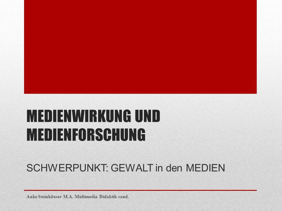 MEDIENWIRKUNG UND MEDIENFORSCHUNG SCHWERPUNKT: GEWALT in den MEDIEN Anke Steinhäuser M.A. Multimedia Didaktik cand.