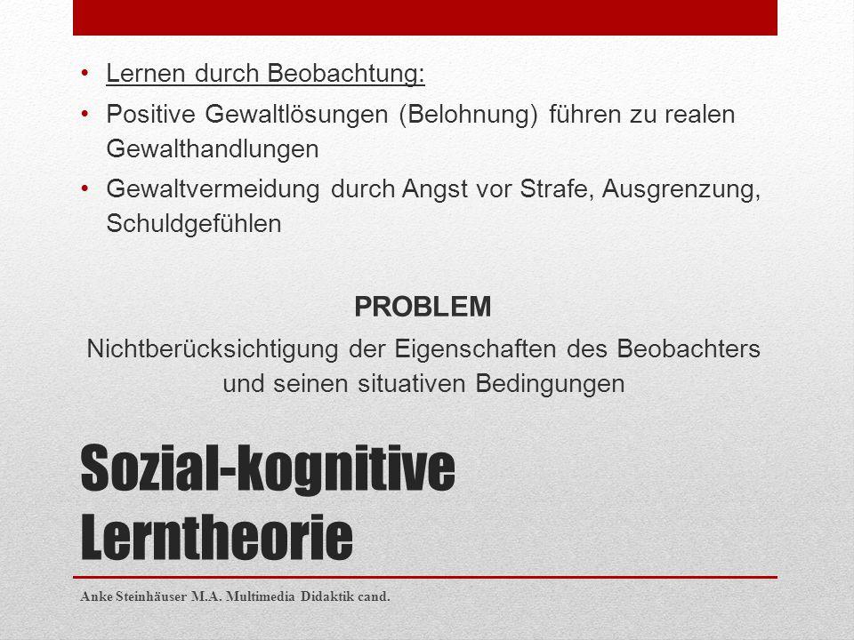 Sozial-kognitive Lerntheorie Lernen durch Beobachtung: Positive Gewaltlösungen (Belohnung) führen zu realen Gewalthandlungen Gewaltvermeidung durch An