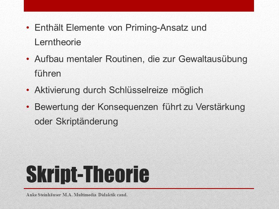 Skript-Theorie Enthält Elemente von Priming-Ansatz und Lerntheorie Aufbau mentaler Routinen, die zur Gewaltausübung führen Aktivierung durch Schlüssel