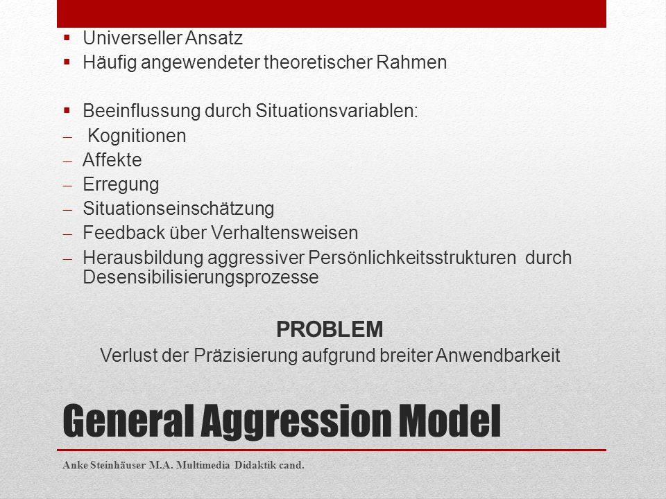General Aggression Model  Universeller Ansatz  Häufig angewendeter theoretischer Rahmen  Beeinflussung durch Situationsvariablen:  Kognitionen  A
