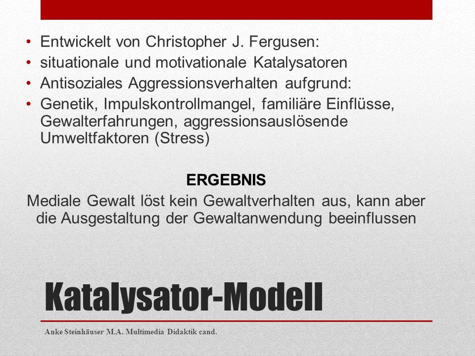 Katalysator-Modell Entwickelt von Christopher J. Fergusen: situationale und motivationale Katalysatoren Antisoziales Aggressionsverhalten aufgrund: Ge