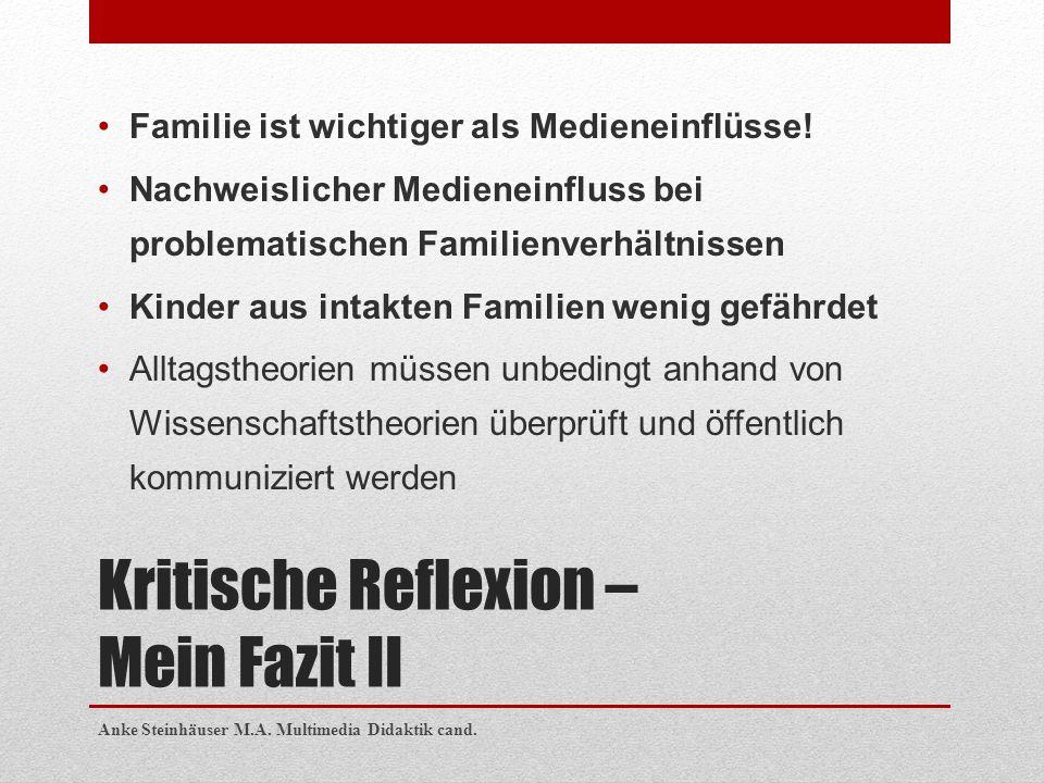 Kritische Reflexion – Mein Fazit II Familie ist wichtiger als Medieneinflüsse! Nachweislicher Medieneinfluss bei problematischen Familienverhältnissen