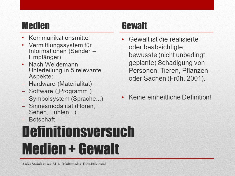 Definitionsversuch Medien + Gewalt Medien Kommunikationsmittel Vermittlungssystem für Informationen (Sender – Empfänger) Nach Weidemann Unterteilung i