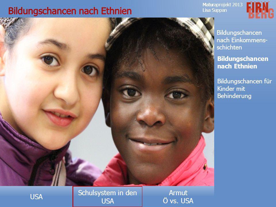 Armut Ö vs. USA USA Maturaprojekt 2013 Lisa Suppan Forschungsfrage Aufbau des Schulsystems Private- und öffentliche Schulen Definitionen No Child Left