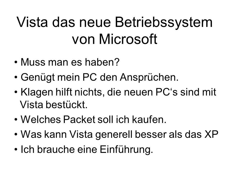 Vista das neue Betriebssystem von Microsoft Muss man es haben? Genügt mein PC den Ansprüchen. Klagen hilft nichts, die neuen PC's sind mit Vista bestü
