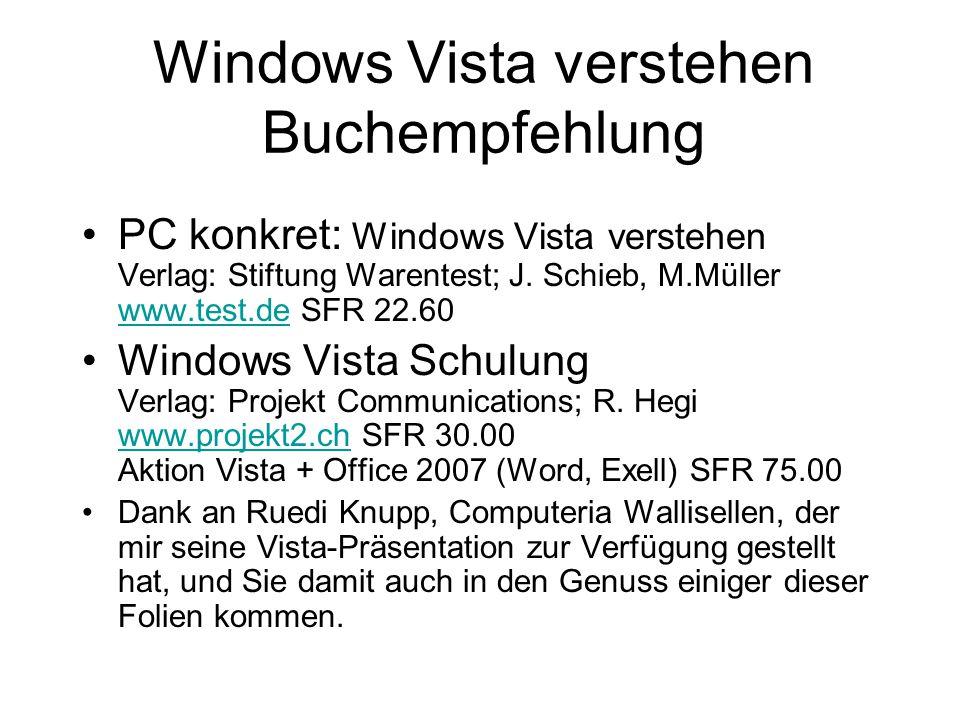 Windows Vista verstehen Buchempfehlung PC konkret: Windows Vista verstehen Verlag: Stiftung Warentest; J. Schieb, M.Müller www.test.de SFR 22.60 www.t