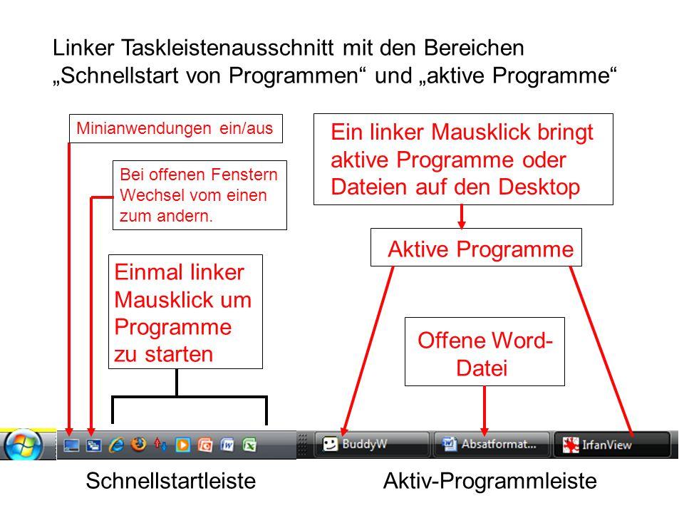 """Aktive Programme Offene Word- Datei Einmal linker Mausklick um Programme zu starten Linker Taskleistenausschnitt mit den Bereichen """"Schnellstart von P"""