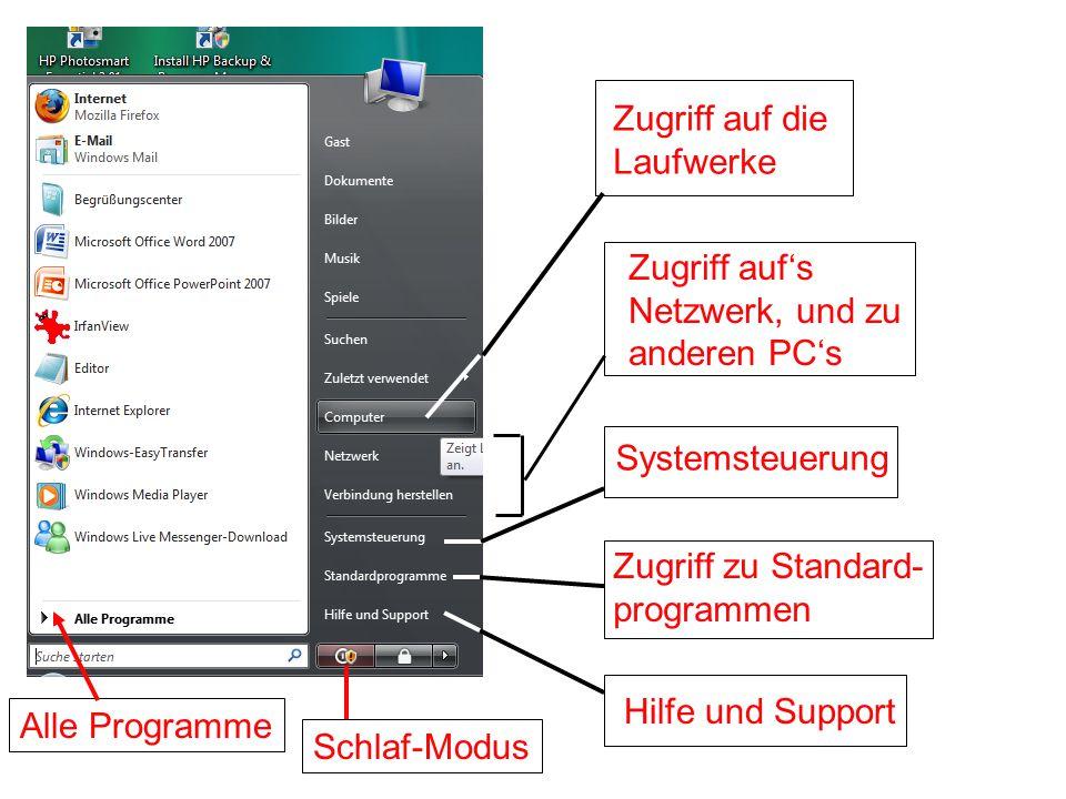 Systemsteuerung Hilfe und Support Schlaf-Modus Alle Programme Zugriff auf's Netzwerk, und zu anderen PC's Zugriff zu Standard- programmen Zugriff auf