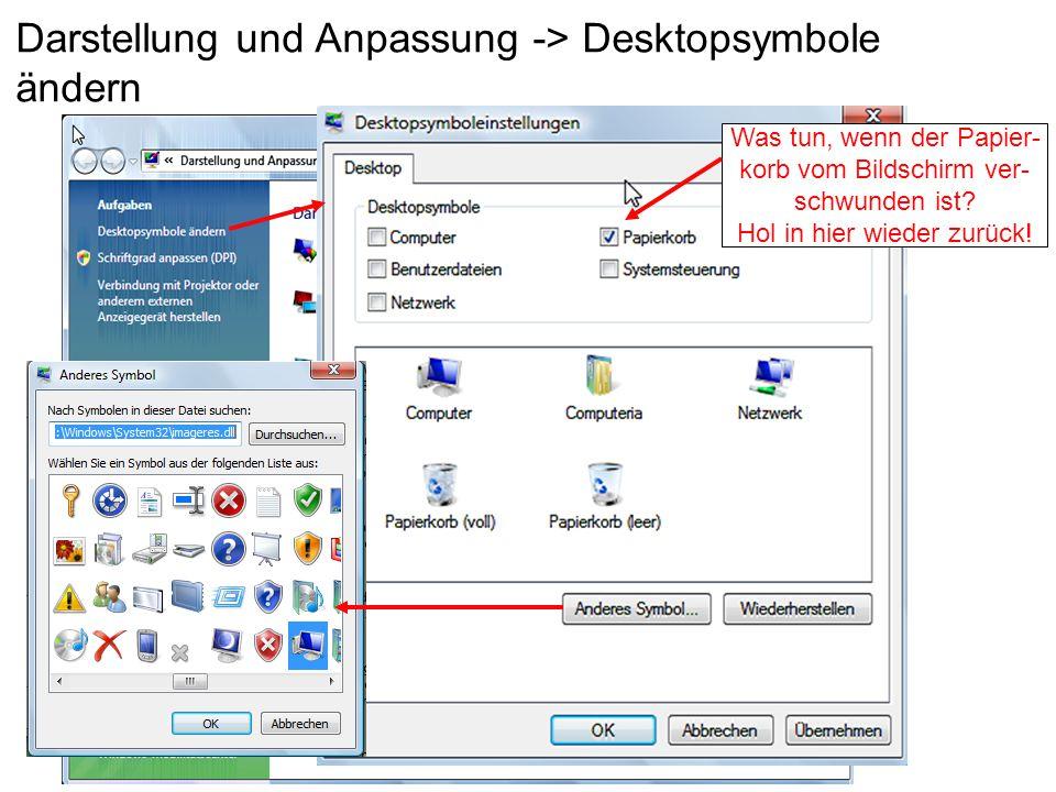 Darstellung und Anpassung -> Desktopsymbole ändern Was tun, wenn der Papier- korb vom Bildschirm ver- schwunden ist? Hol in hier wieder zurück!