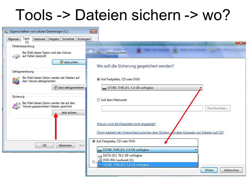 Tools -> Dateien sichern -> wo?