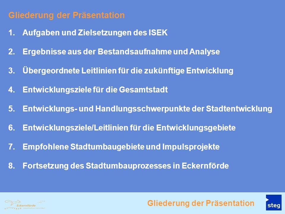 1.Aufgaben und Zielsetzungen des ISEK 2.Ergebnisse aus der Bestandsaufnahme und Analyse 3.Übergeordnete Leitlinien für die zukünftige Entwicklung 4.En