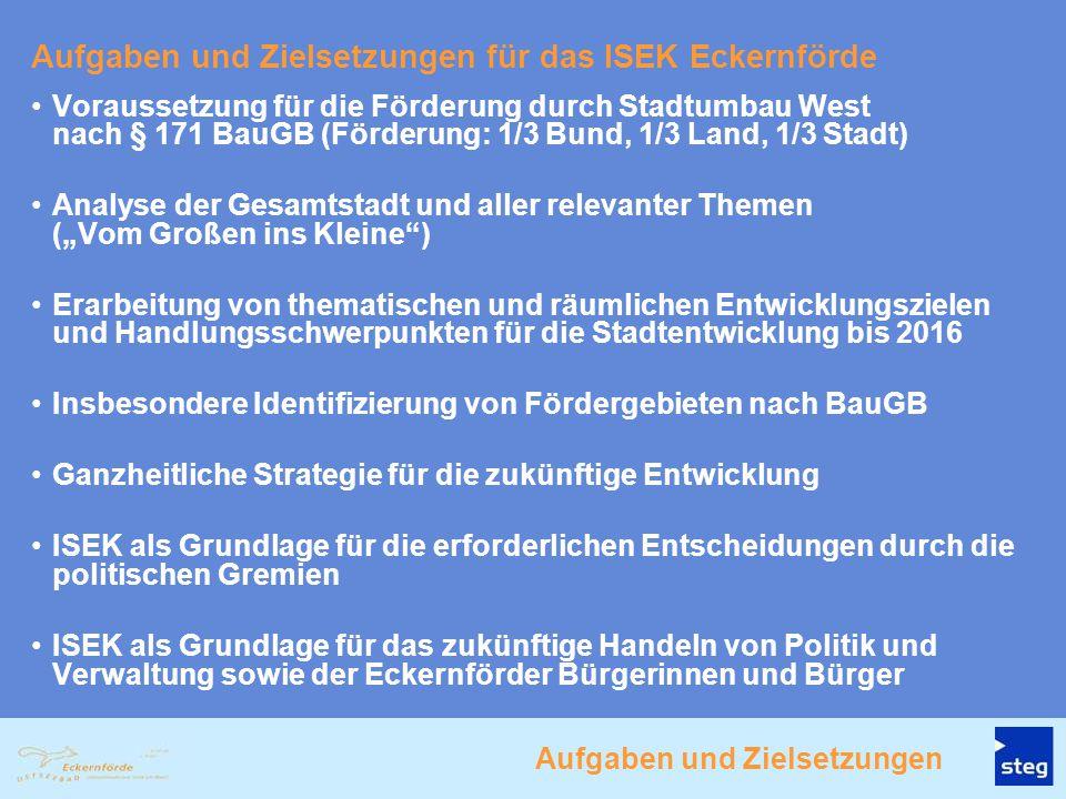 Aufgaben und Zielsetzungen für das ISEK Eckernförde Voraussetzung für die Förderung durch Stadtumbau West nach § 171 BauGB (Förderung: 1/3 Bund, 1/3 L