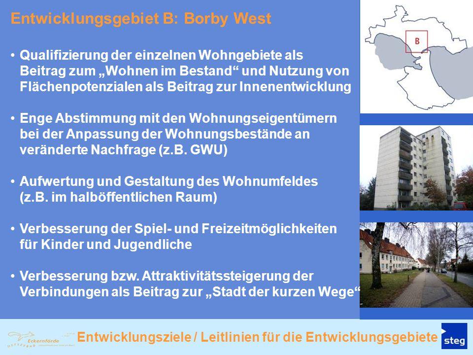 """Entwicklungsgebiet B: Borby West Qualifizierung der einzelnen Wohngebiete als Beitrag zum """"Wohnen im Bestand"""" und Nutzung von Flächenpotenzialen als B"""