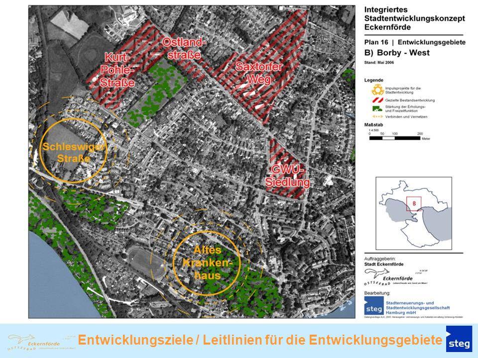 Entwicklungsgebiet C: Innenstadt-Hafen-Noor Stärkung der Innenstadt in ihren überörtlichen Funk- tionen (Mittelzentrum) durch Sicherung und Weiterent- wicklung z.B.