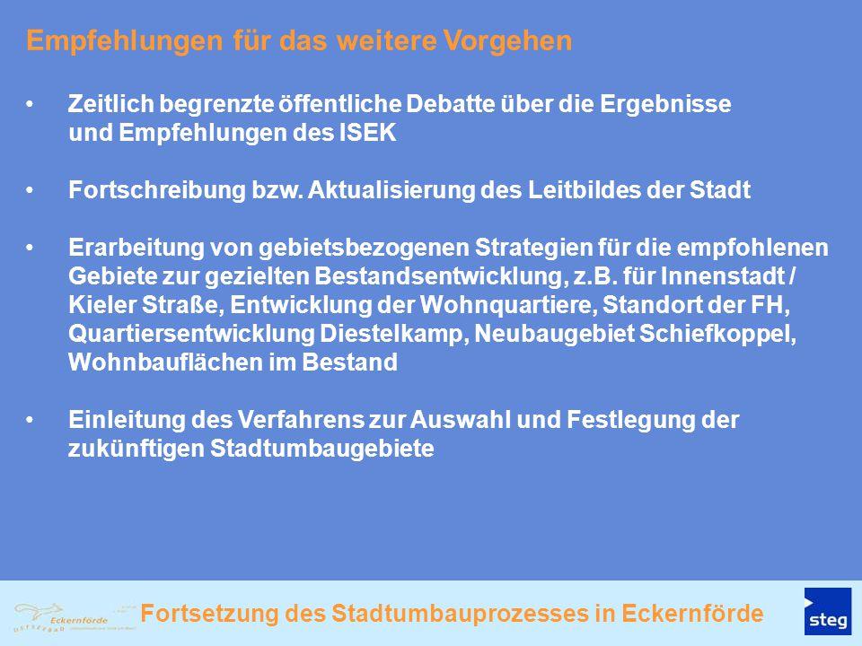 Fortsetzung des Stadtumbauprozesses in Eckernförde Zeitlich begrenzte öffentliche Debatte über die Ergebnisse und Empfehlungen des ISEK Fortschreibung