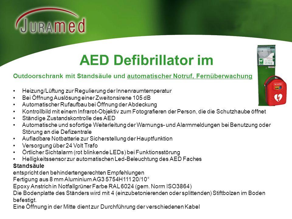 AED Defibrillator im Outdoorschrank mit Standsäule und automatischer Notruf, Fernüberwachung Heizung/Lüftung zur Regulierung der Innenraumtemperatur B