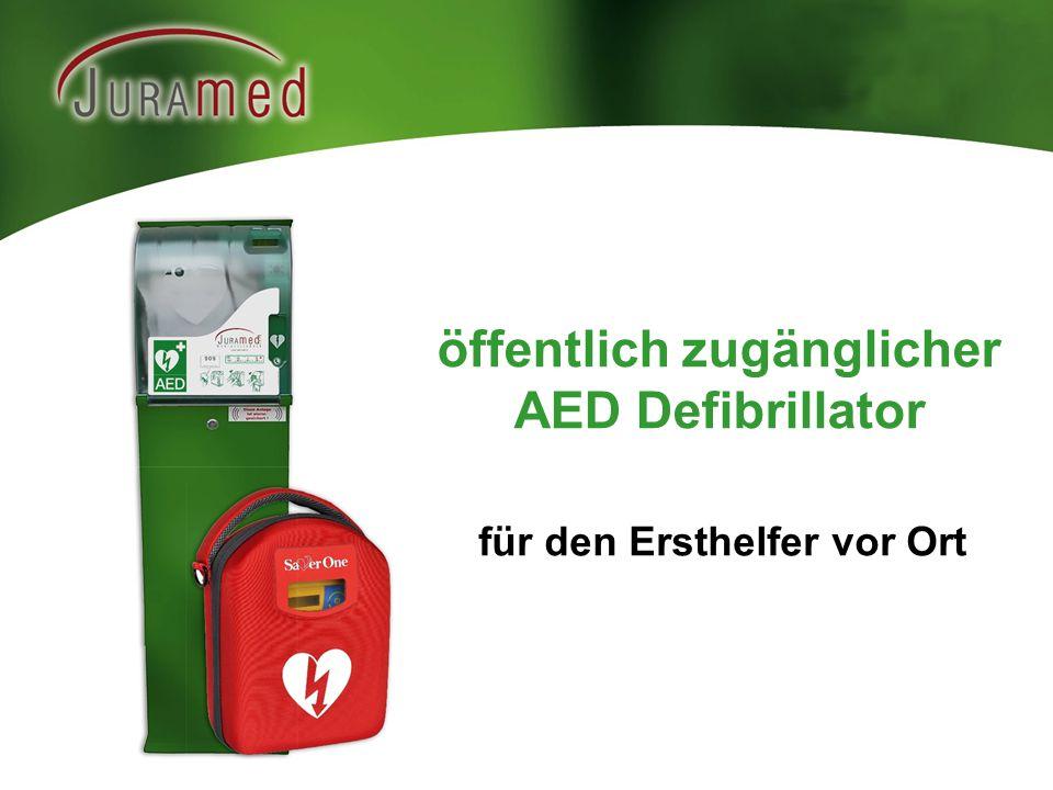 öffentlich zugänglicher AED Defibrillator für den Ersthelfer vor Ort
