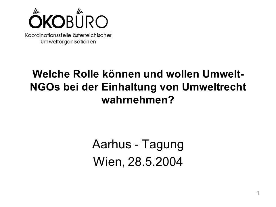 1 Welche Rolle können und wollen Umwelt- NGOs bei der Einhaltung von Umweltrecht wahrnehmen? Aarhus - Tagung Wien, 28.5.2004