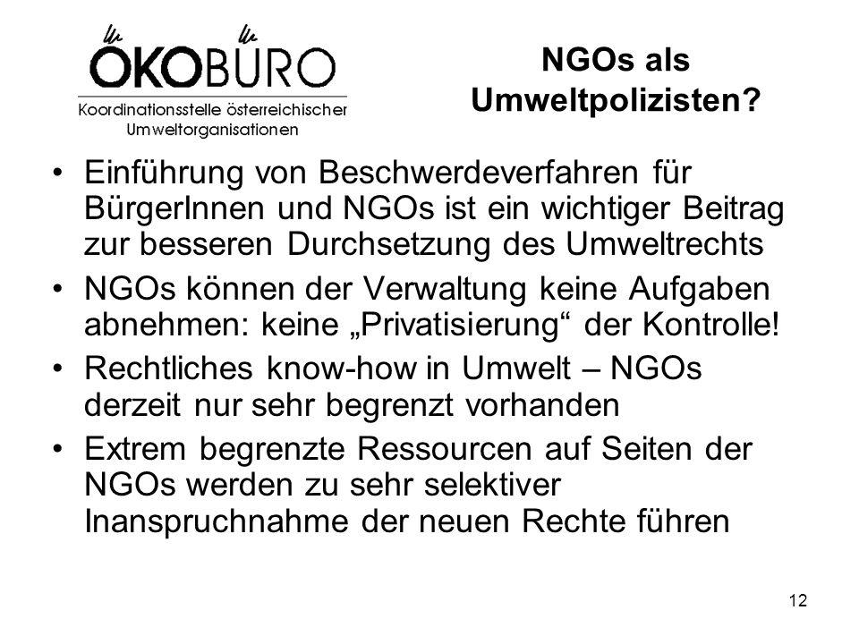 12 NGOs als Umweltpolizisten? Einführung von Beschwerdeverfahren für BürgerInnen und NGOs ist ein wichtiger Beitrag zur besseren Durchsetzung des Umwe