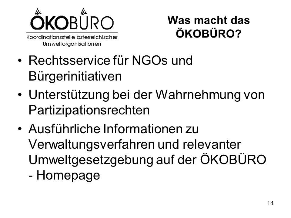 14 Was macht das ÖKOBÜRO? Rechtsservice für NGOs und Bürgerinitiativen Unterstützung bei der Wahrnehmung von Partizipationsrechten Ausführliche Inform