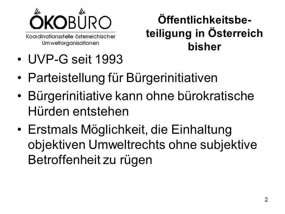 2 Öffentlichkeitsbe- teiligung in Österreich bisher UVP-G seit 1993 Parteistellung für Bürgerinitiativen Bürgerinitiative kann ohne bürokratische Hürden entstehen Erstmals Möglichkeit, die Einhaltung objektiven Umweltrechts ohne subjektive Betroffenheit zu rügen