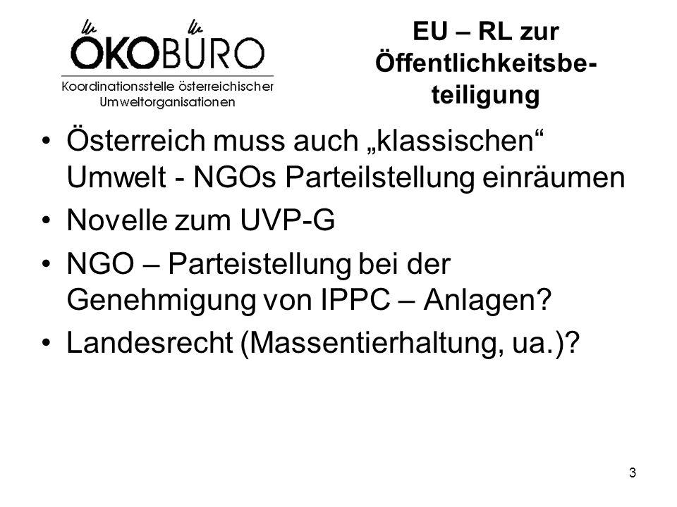 """3 EU – RL zur Öffentlichkeitsbe- teiligung Österreich muss auch """"klassischen Umwelt - NGOs Parteilstellung einräumen Novelle zum UVP-G NGO – Parteistellung bei der Genehmigung von IPPC – Anlagen."""