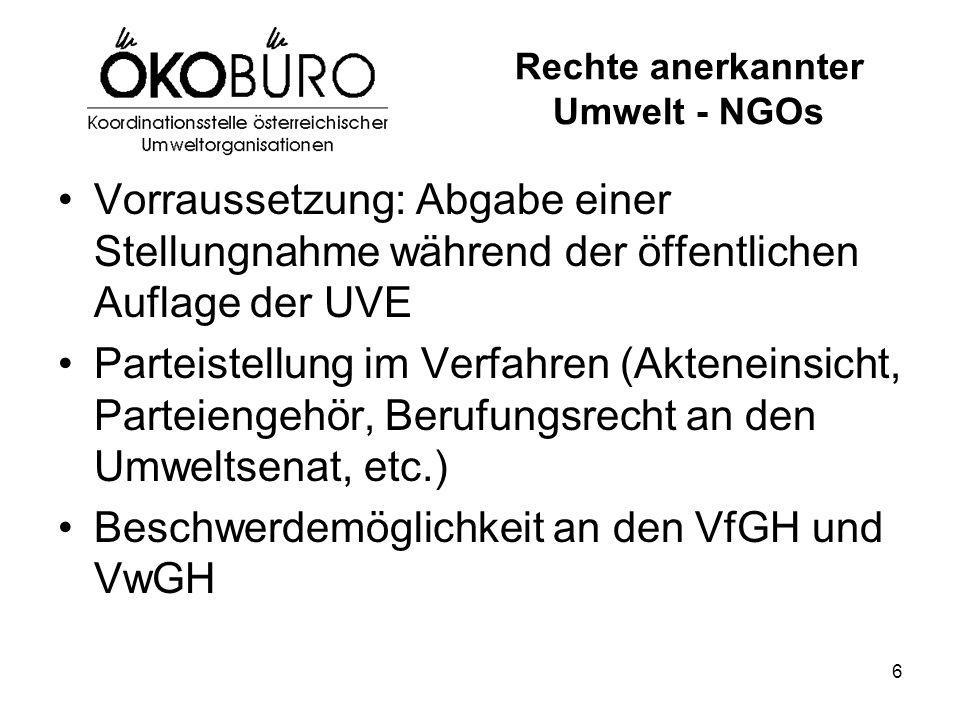 6 Rechte anerkannter Umwelt - NGOs Vorraussetzung: Abgabe einer Stellungnahme während der öffentlichen Auflage der UVE Parteistellung im Verfahren (Ak