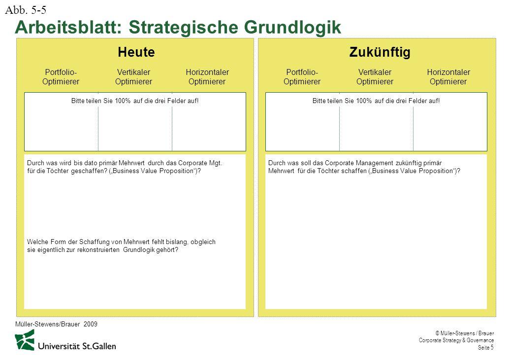 © Müller-Stewens / Brauer Corporate Strategy & Governance Seite 5 Arbeitsblatt: Strategische Grundlogik Abb.