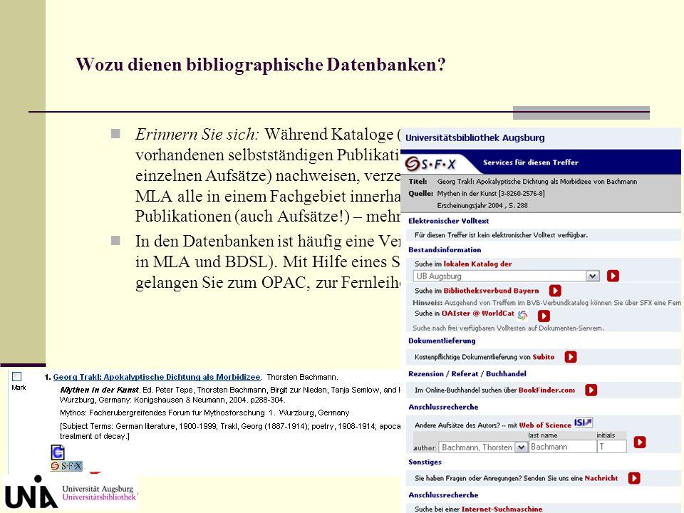 Datenbank-Infosystem (DBIS) Die wichtigsten bibliographischen Datenbanken zur Germanistik, besonders zur deutschen Literaturwissenschaft Hier klicken