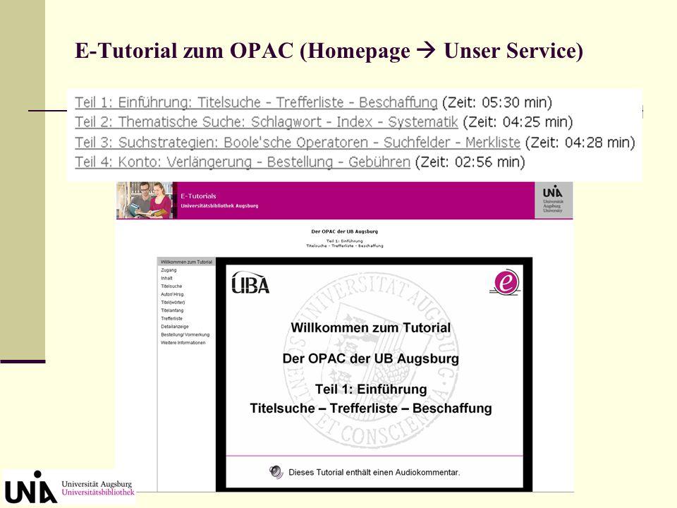 Wie lernt man mit dem OPAC umzugehen? Am besten schauen / hören Sie sich das E-Tutorial zum OPAC an.