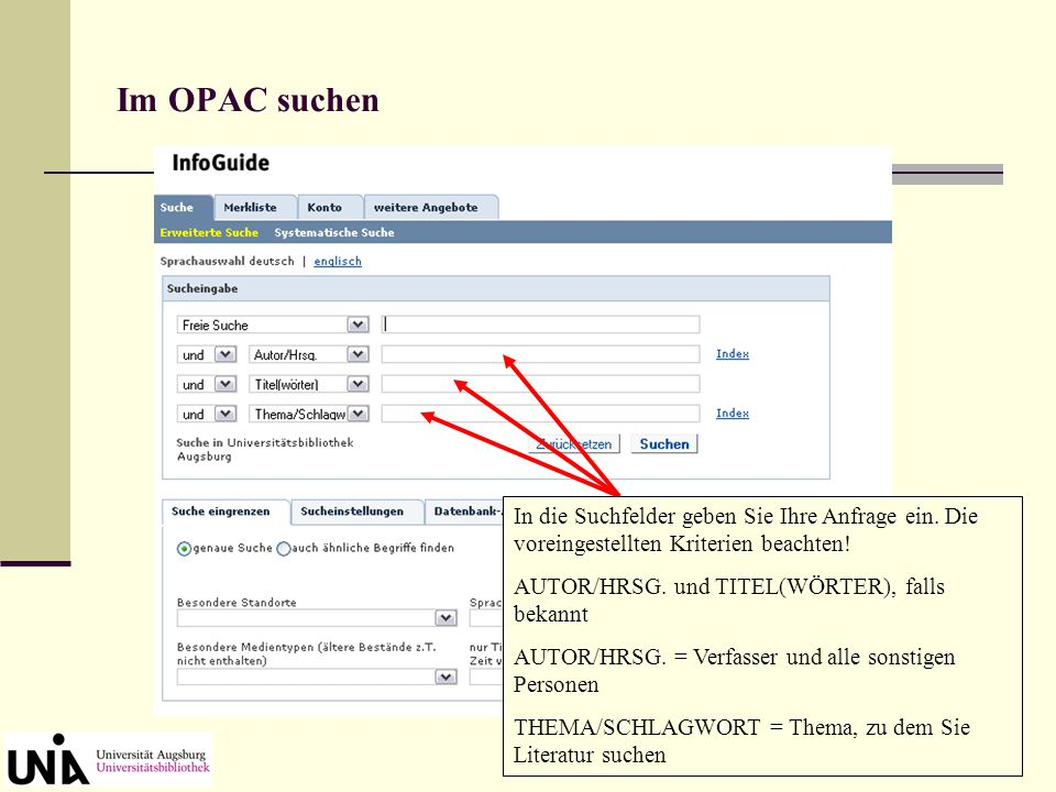 OPAC-Kennung und Passwort Zum Bestellen und Vormerken über den OPAC benötigen Sie Ihre Benutzernummer (Studentenausweis) und ein Passwort. Dieses ist,