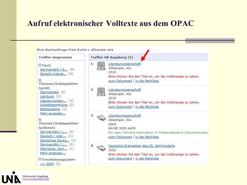"Aufruf elektronischer Volltexte aus dem OPAC ""Gekauftes"" E-Book"