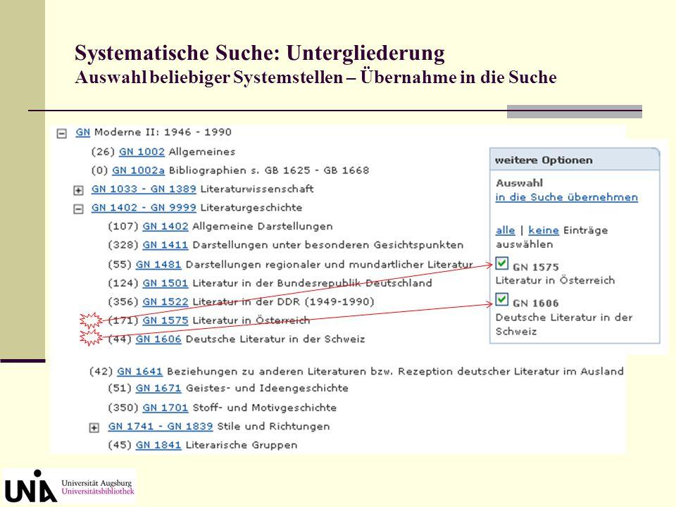 Systematische Suche: Untergliederung Auswahl beliebiger Systemstellen