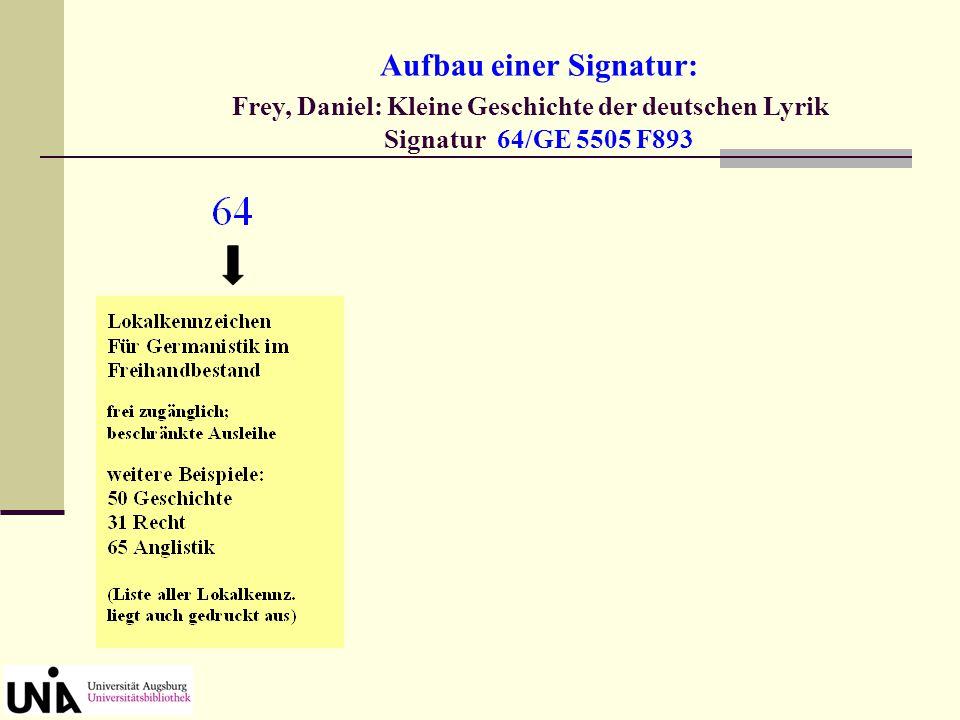 Aufbau einer Signatur: Frey, Daniel: Kleine Geschichte der deutschen Lyrik Signatur 64/GE 5505 F893