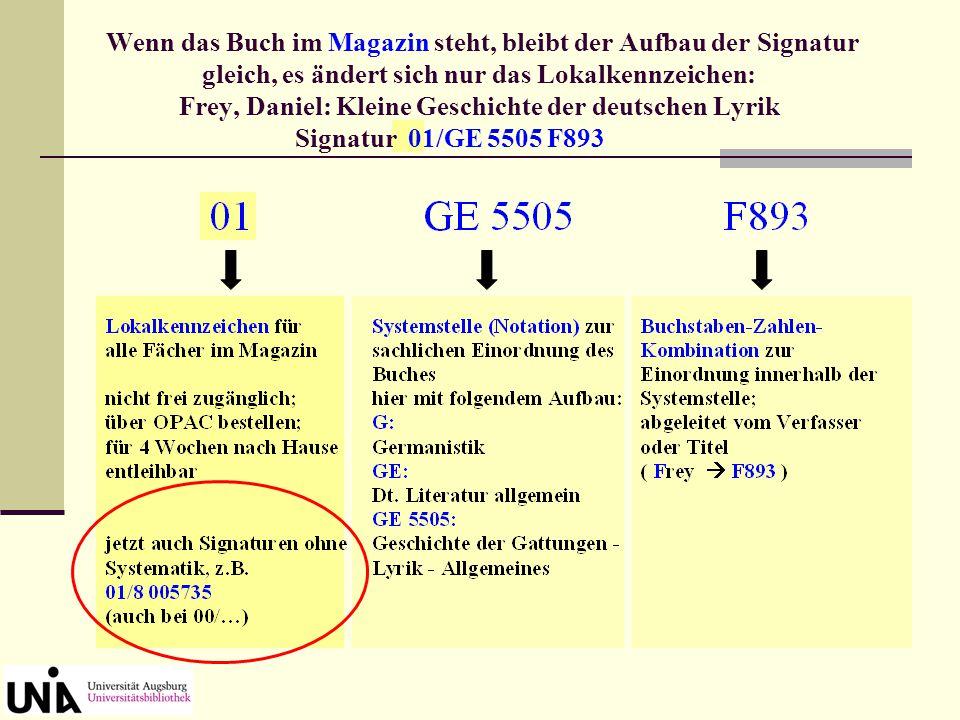 Wenn das Buch im Magazin steht, bleibt der Aufbau der Signatur gleich, es ändert sich nur das Lokalkennzeichen: Frey, Daniel: Kleine Geschichte der deutschen Lyrik Signatur 01/GE 5505 F893
