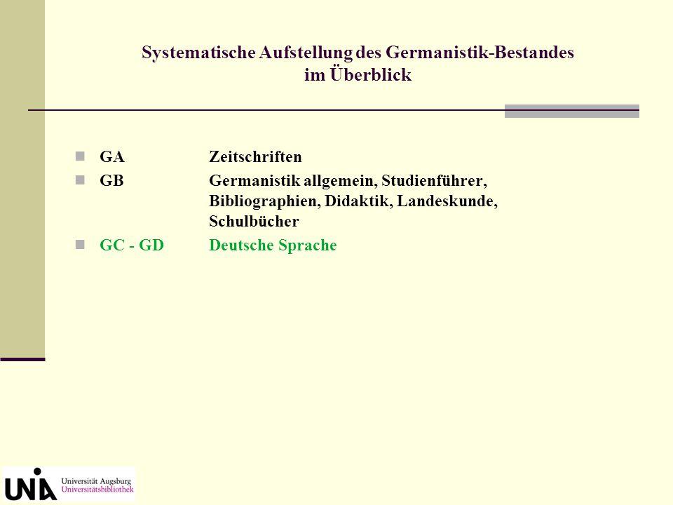 GBGermanistik allgemein, Studienführer, Bibliographien, Didaktik, Landeskunde, Schulbücher Systematische Aufstellung des Germanistik-Bestandes im Überblick