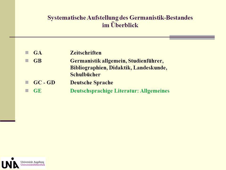 GAZeitschriften GBGermanistik allgemein, Studienführer, Bibliographien, Didaktik, Landeskunde, Schulbücher GC - GDDeutsche Sprache