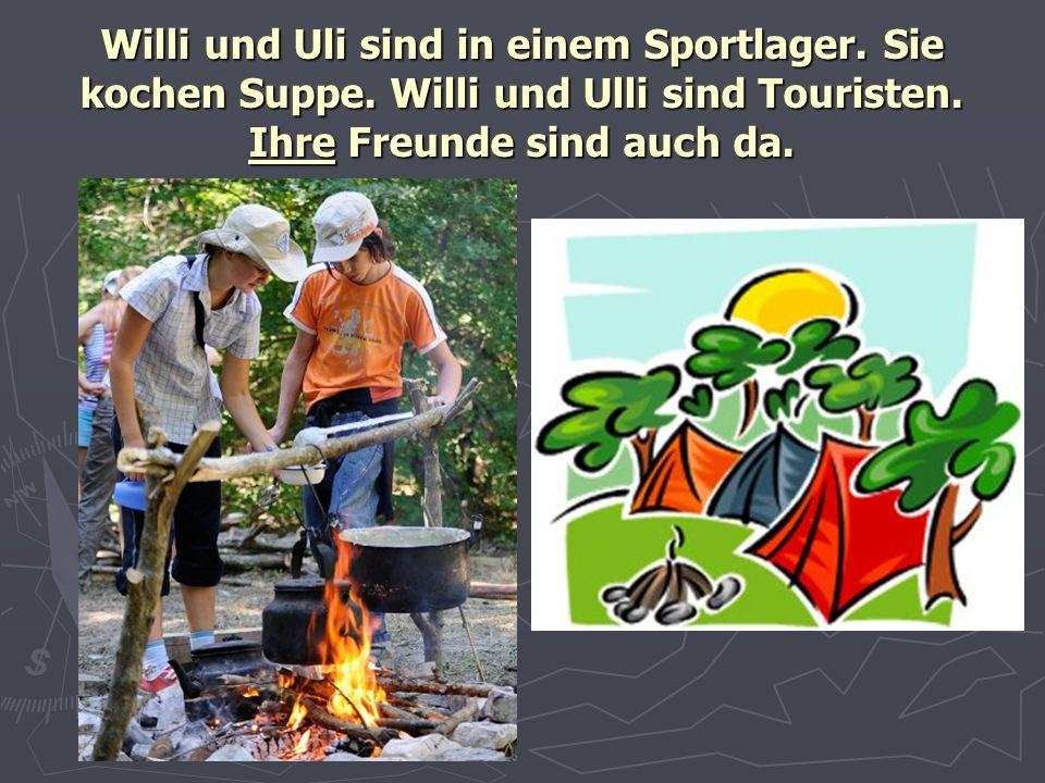 Willi und Uli sind in einem Sportlager. Sie kochen Suppe. Willi und Ulli sind Touristen. Ihre Freunde sind auch da.