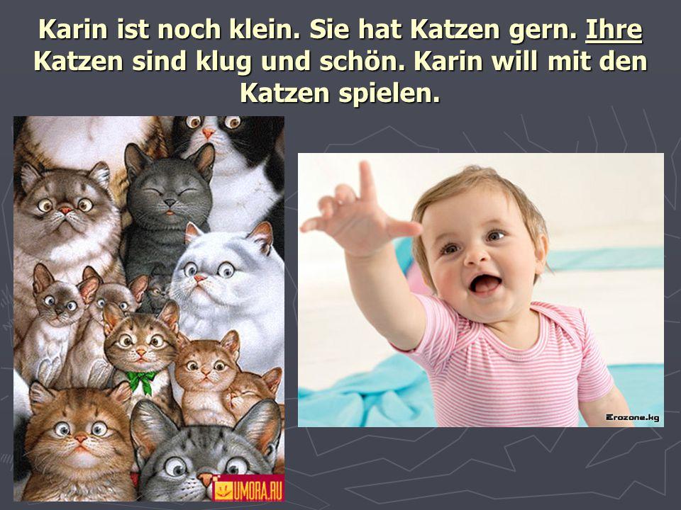 Karin ist noch klein. Sie hat Katzen gern. Ihre Katzen sind klug und schön. Karin will mit den Katzen spielen.