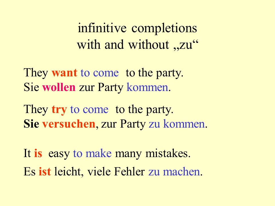 "infinitive completions with and without ""zu"" They want to come to the party. Sie wollen zur Party kommen. They try to come to the party. Sie versuchen"