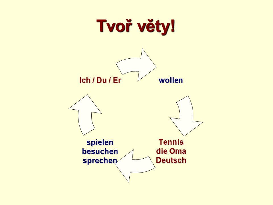 Tvoř věty! wollen Tennis die Oma Deutschspielenbesuchensprechen Ich / Du / Er